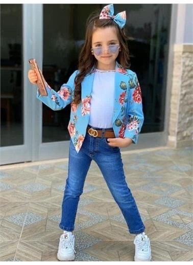 Riccotarz Kız Çocuk Çiçekli Ceketli Pantolonlu Mavi Alt Üst Takım Mavi